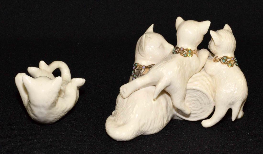 (2) LENOX CHINA JEWELS CAT FIGURINES: Cat quartz clock - 2