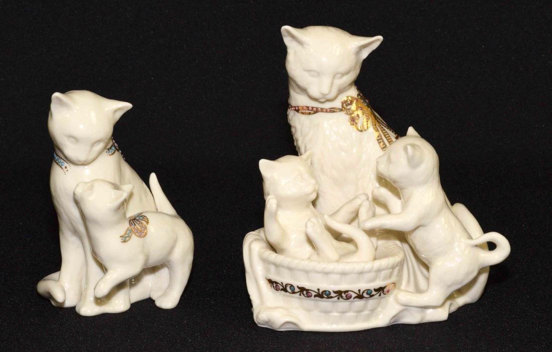 (2) LENOX CHINA JEWELS CAT FIGURINES: Kitten Kapers