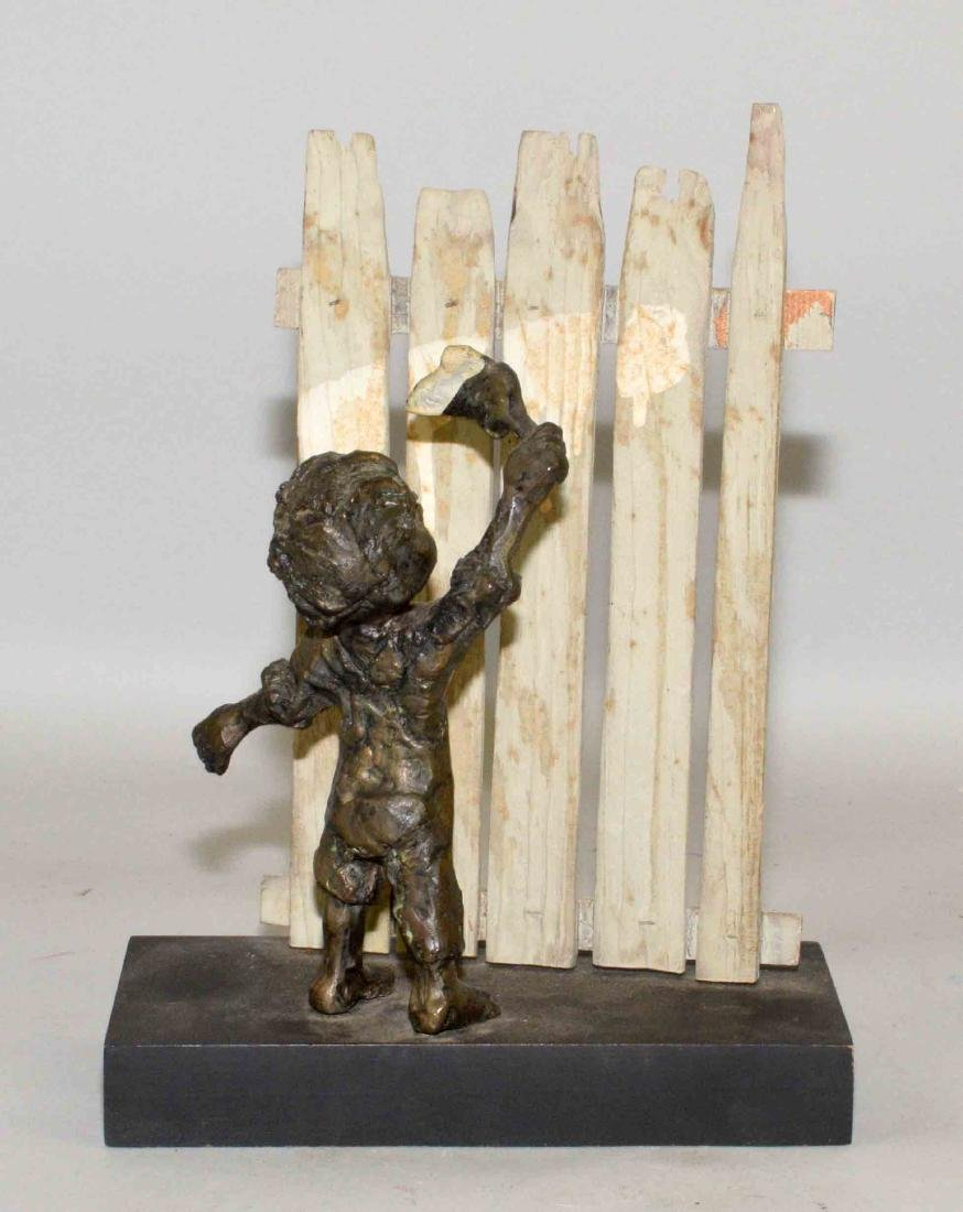 MODERN BRONZE OF BOY PAINTING FENCE. 10.5''H x 7.75''W