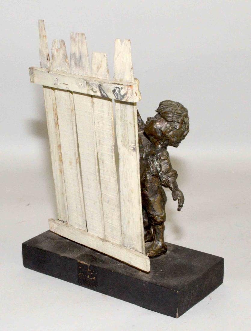 MODERN BRONZE OF BOY PAINTING FENCE. 10.5''H x 7.75''W - 2