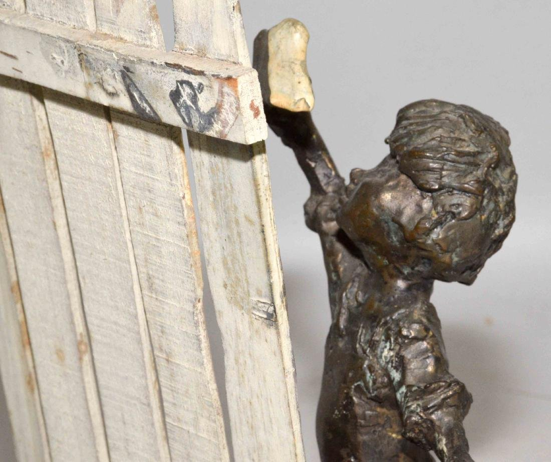 MODERN BRONZE OF BOY PAINTING FENCE. 10.5''H x 7.75''W - 3