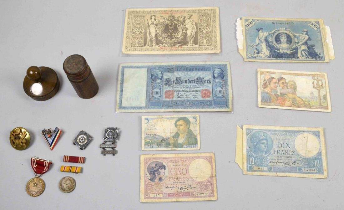 COLLECTION OF FOREIGN PAPER MONEY, miiltary medals and
