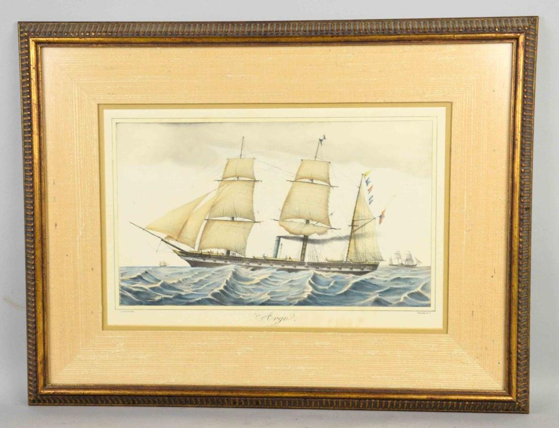 ''ARGO'' HAND COLORED MARITIME PRINT, 18''H x 24''W.