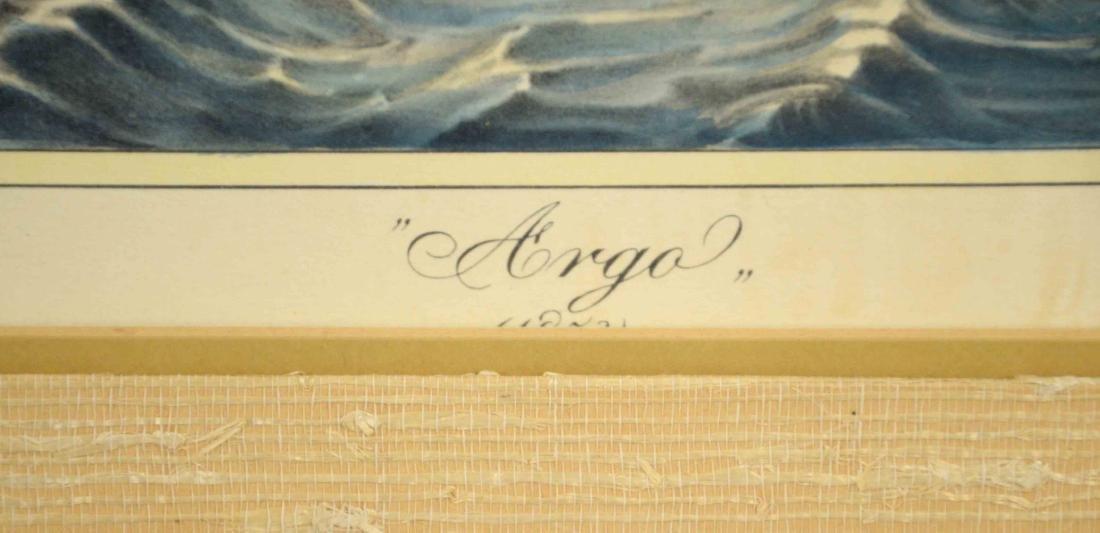 ''ARGO'' HAND COLORED MARITIME PRINT, 18''H x 24''W. - 3
