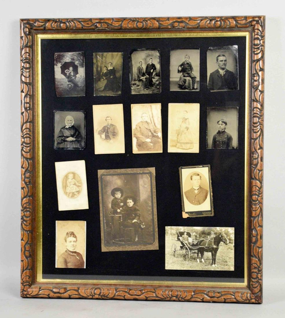FRAMED COLLECTION OF ANTIQUE TINTYPES AND OLD PHOTOS,