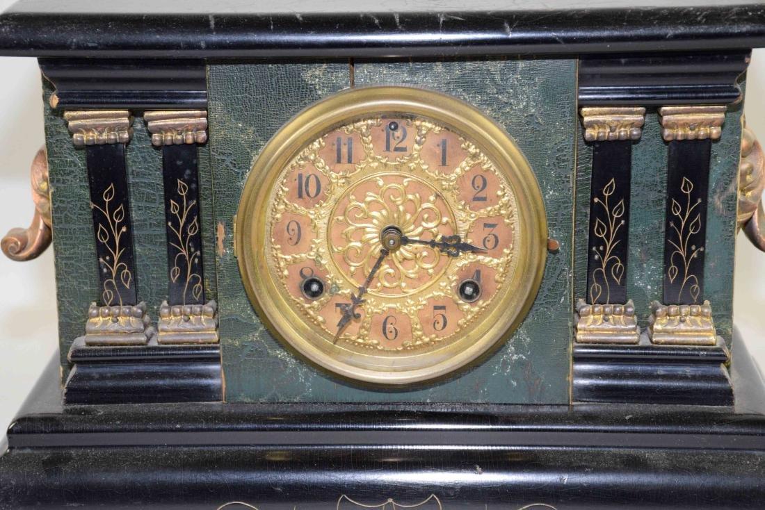 ANTIQUE WOOD AND BRONZE MANTEL CLOCK. 11''H x 13.5''L x - 2