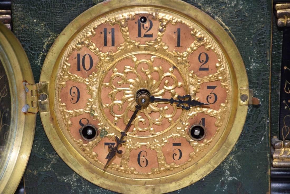ANTIQUE WOOD AND BRONZE MANTEL CLOCK. 11''H x 13.5''L x - 3