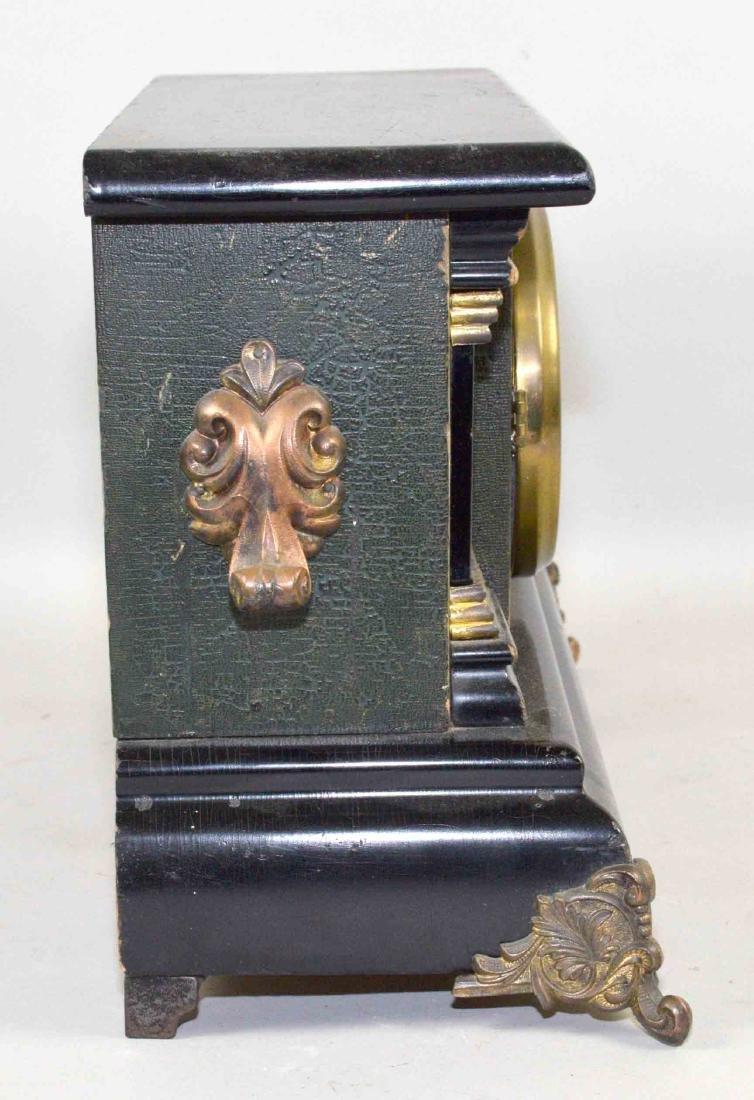 ANTIQUE WOOD AND BRONZE MANTEL CLOCK. 11''H x 13.5''L x - 4