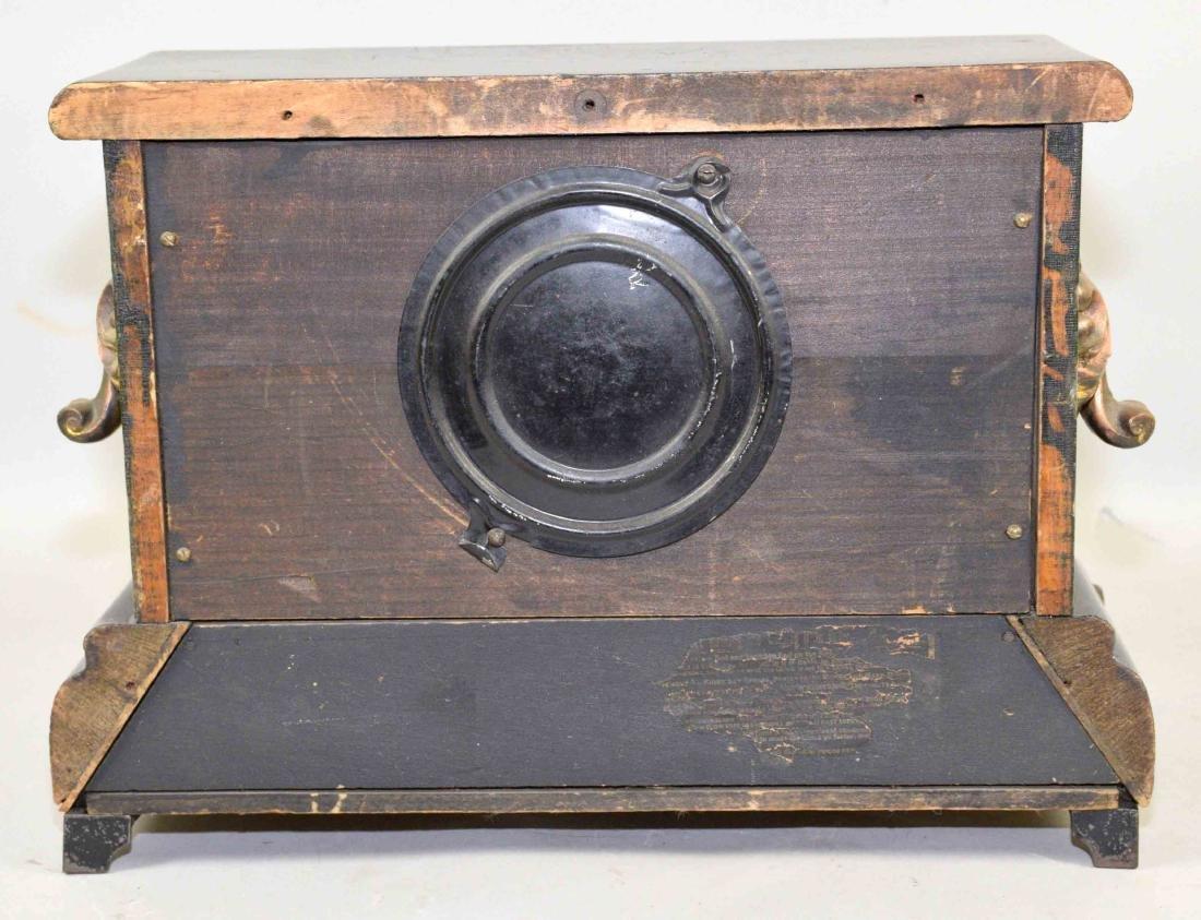 ANTIQUE WOOD AND BRONZE MANTEL CLOCK. 11''H x 13.5''L x - 5