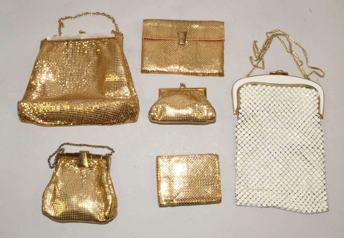 COLLECTION OF (5) WHITING AND DAVIS CO. MESH BAGS,