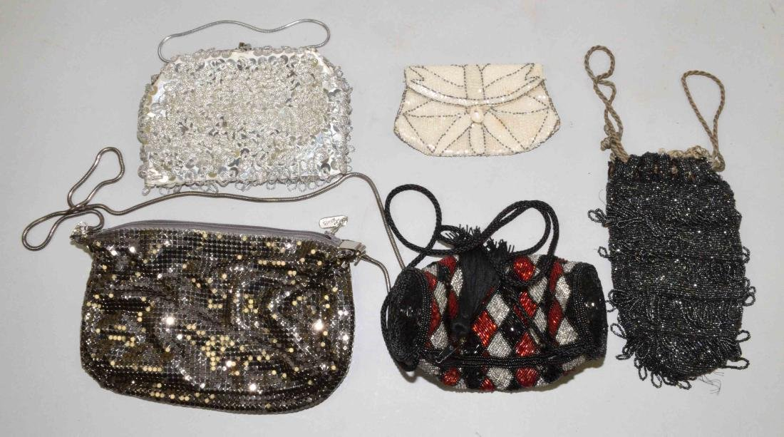 COLLECTION OF (5) HANDBAGS including beaded and mesh.