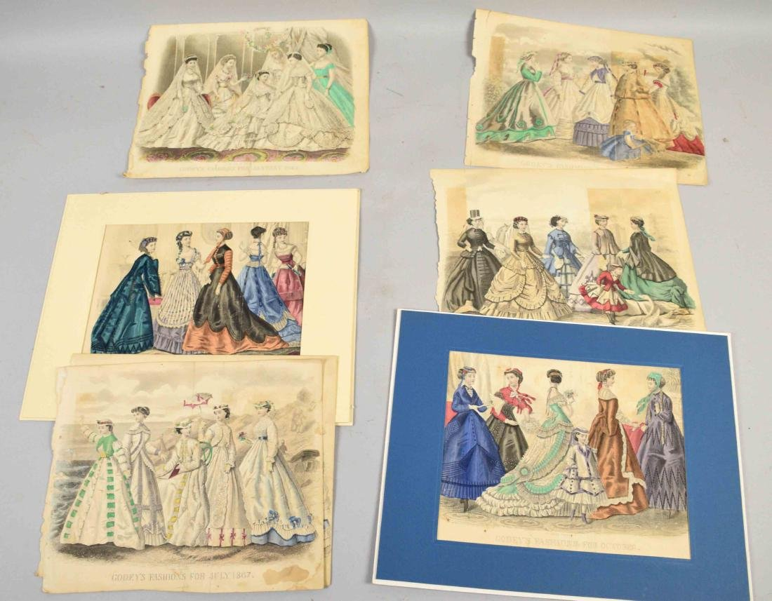 COLLECTION OF HAND COLORED GODEY'S FASHION PRINTS OF
