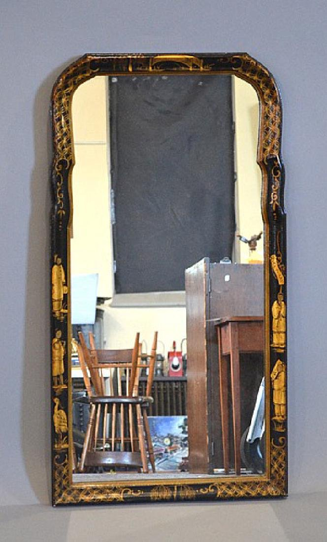 BEVELED WALL MIRROR WITH CHINOISERI FRAME - 37''h X