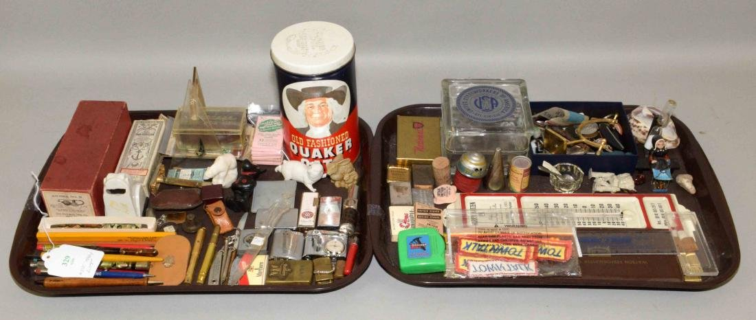 (2) TRAYS OF ASSORTED ADVERTISING AND KNICKNACKS.