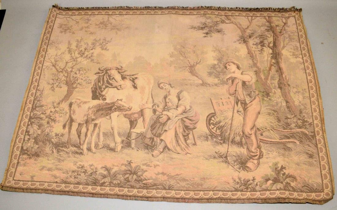 TAPESTRY OF BELGIUM FARM w/people and animals.