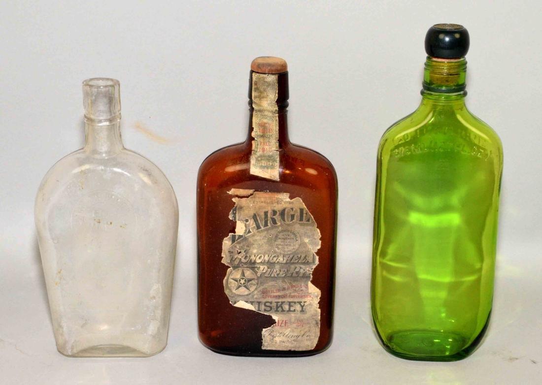 (3) ASSORTED VINTAGE GLASS BOTTLES. Includes Mongahela