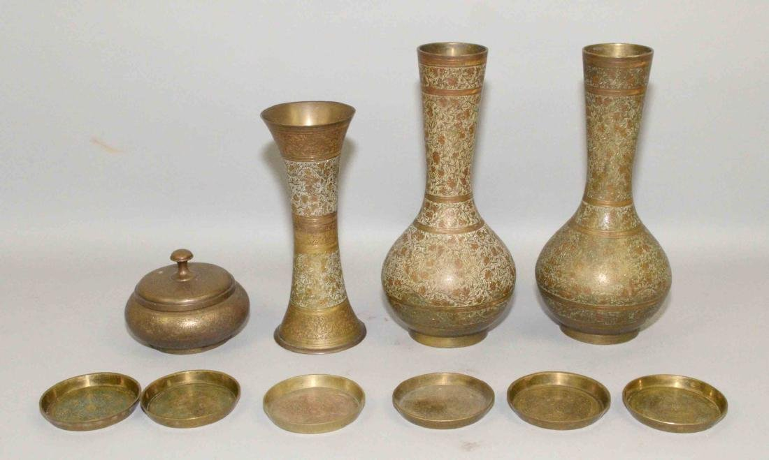 (10) PC'S OF ASSORTED DECORATIVE BRASS OBJECTS, vases,