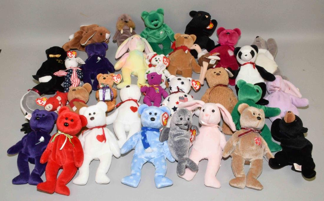 MISC. COLLECTION OF OVER (50) BEANIE BABY STUFFED TOYS.