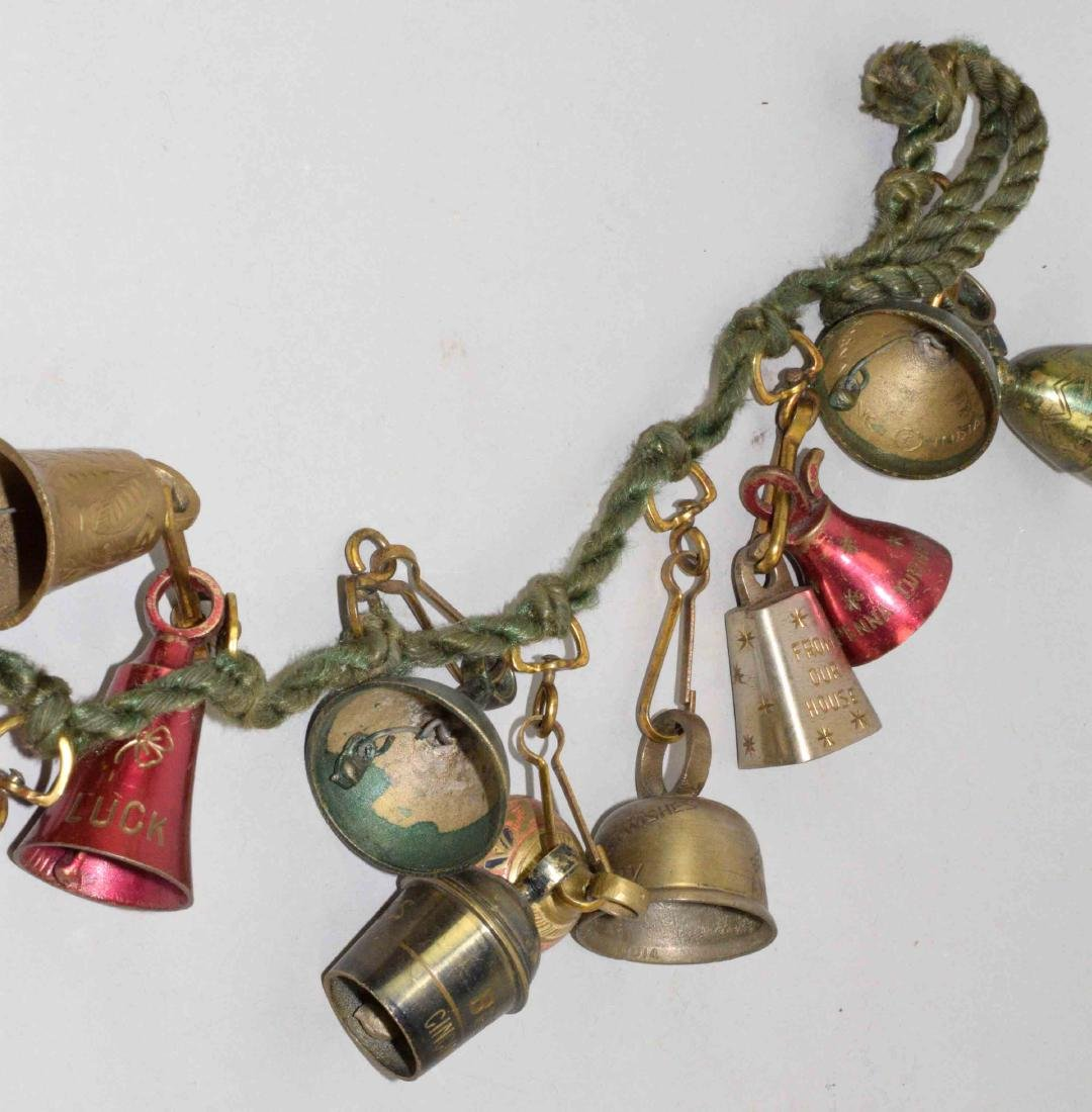 VINTAGE CHRISTMAS GREETING BELL GARLAND, colors red, - 2