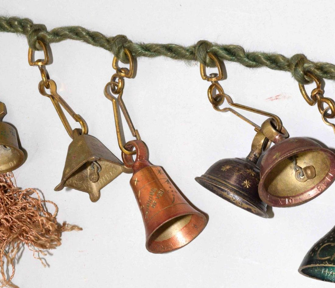VINTAGE CHRISTMAS GREETING BELL GARLAND, colors red, - 5