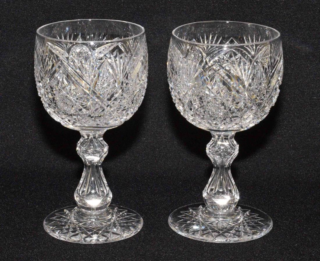(2) ANTIQUE CUT GLASS WINE GOBLETS. Very good
