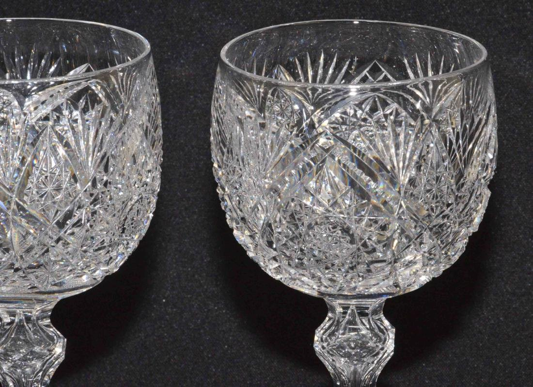 (2) ANTIQUE CUT GLASS WINE GOBLETS. Very good - 2