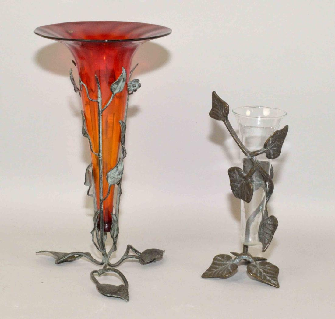 (2) ART GLASS VASES w/green metal ivy vine bases.