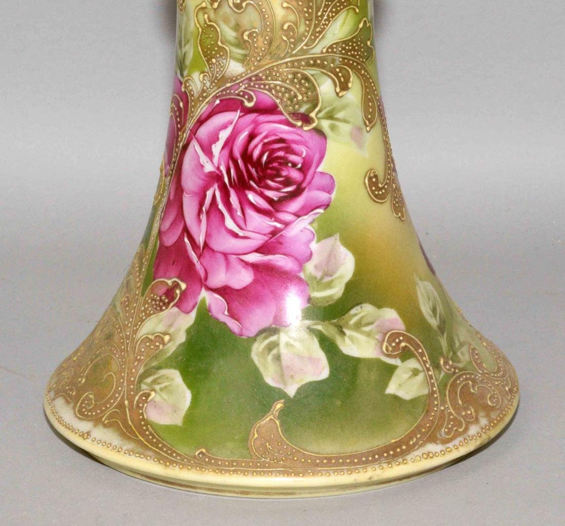 TALL HANDPAINTED LIMOGE (?) FLORAL PORCELAIN VASE. With - 2