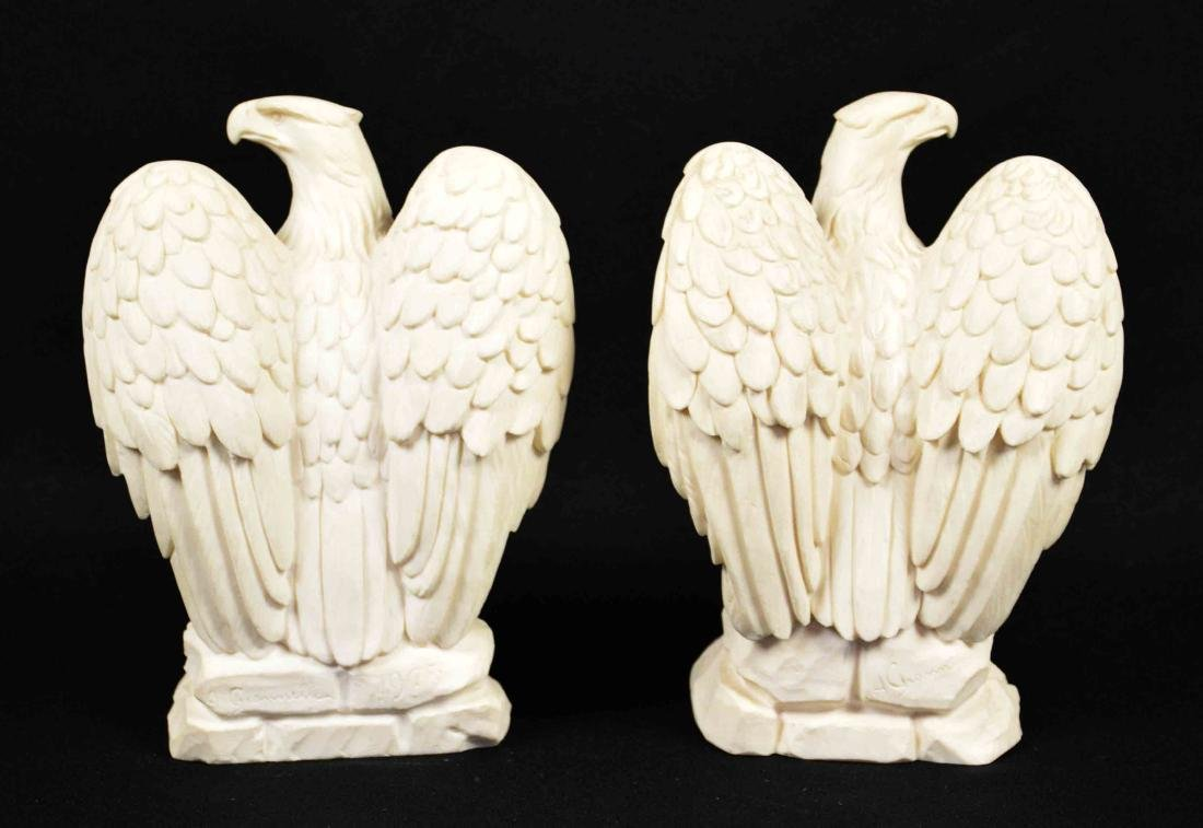 PAIR OF COMPOSITE EAGLE SCULPTURES, signed A. - 2