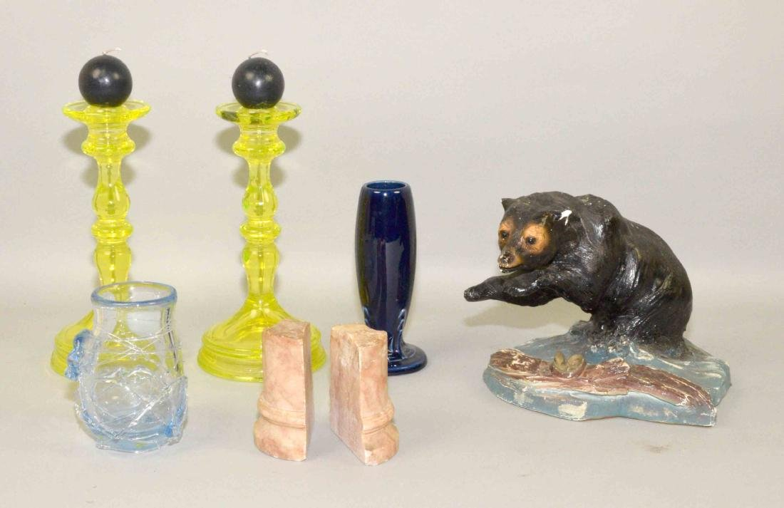 (5) PIECES ASSORTED ART GLASS AND POTTERY TRAY LOT. Art