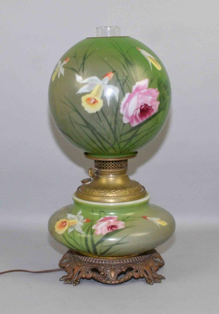 GONE WITH THE WIND TABLE LAMP.  Handpainted floral