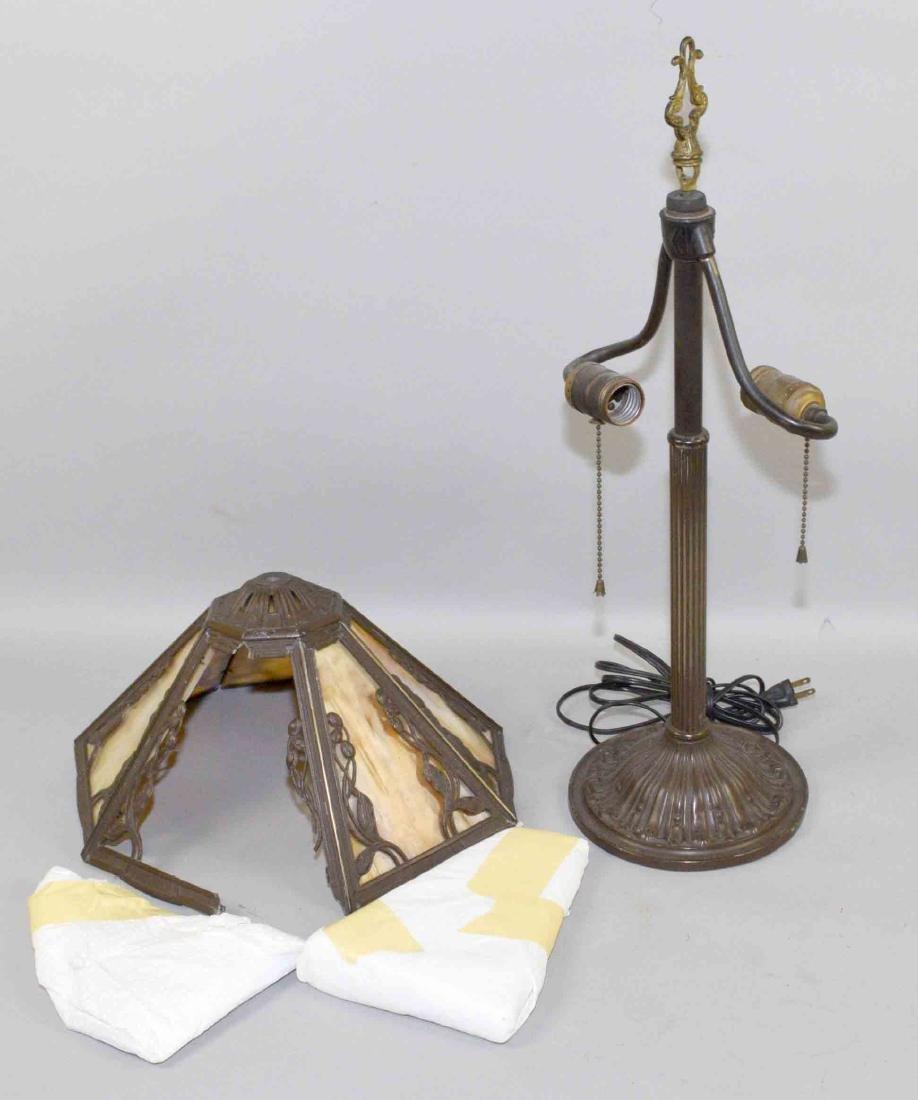 SLAG GLASS LAMP, 23''H.