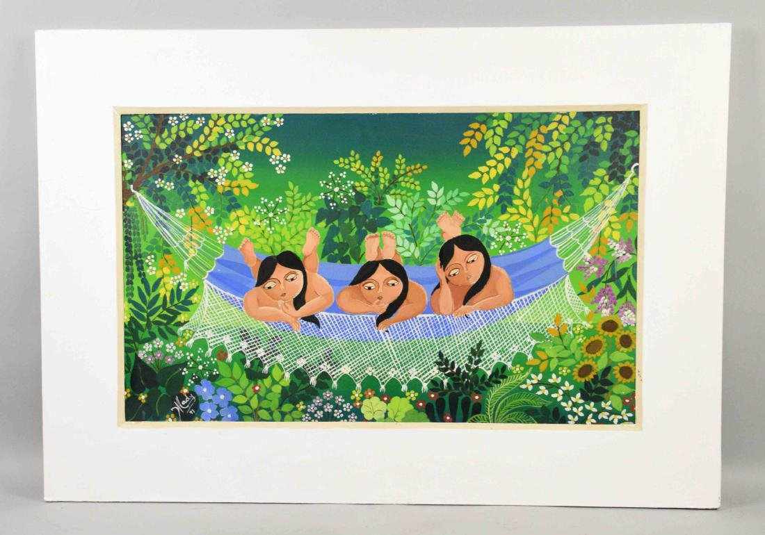 BRAZILIAN NAIVE PAINTING by Batista and Mady. Signed