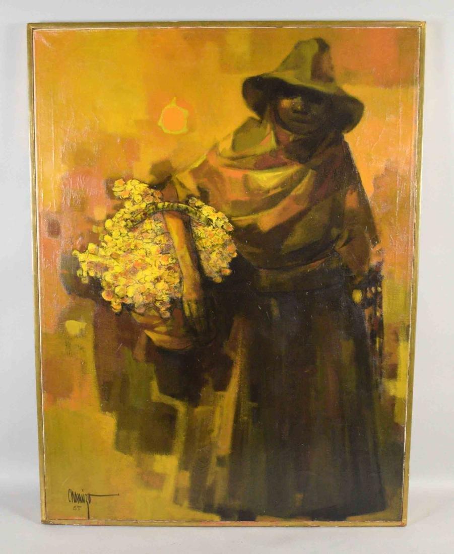 JUAN RUIZ CHAMIZO, flower girl oil painting, 1965.