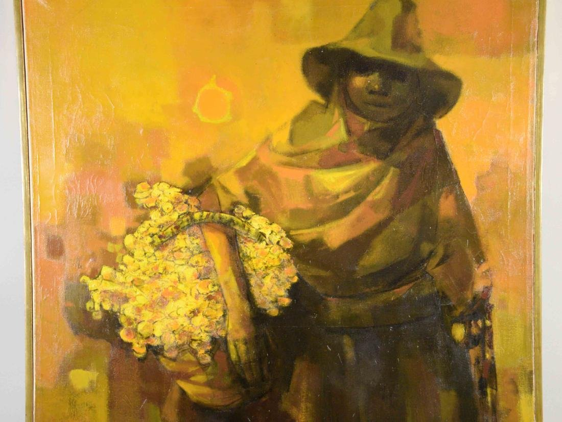 JUAN RUIZ CHAMIZO, flower girl oil painting, 1965. - 2
