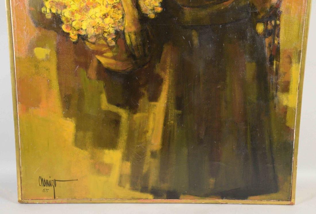 JUAN RUIZ CHAMIZO, flower girl oil painting, 1965. - 3