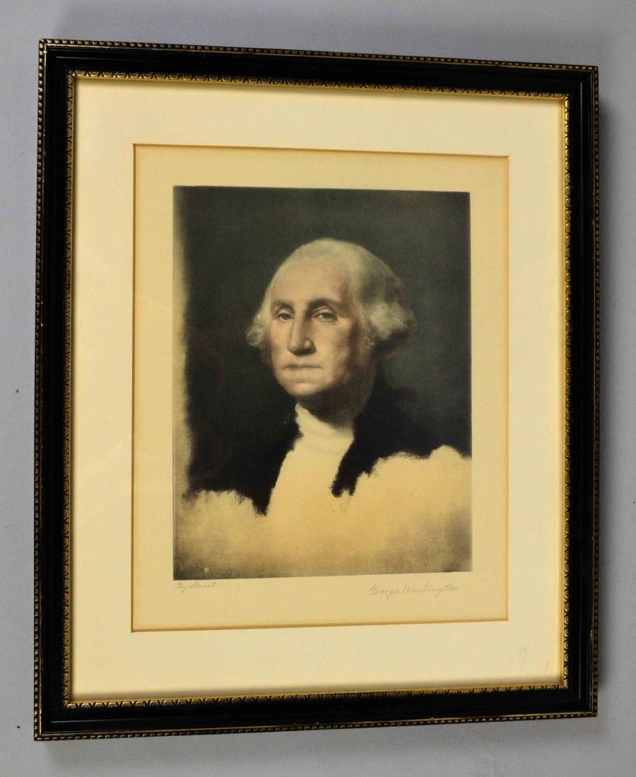 FRAMED PRINT OF GEORGE WASHINGTON. Image size 11''H x