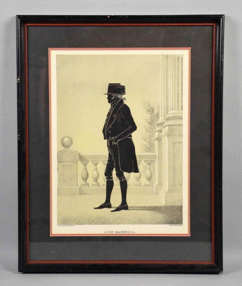 FRAMED PRINT OF JOHN MARSHALL. Image size: 14''H x