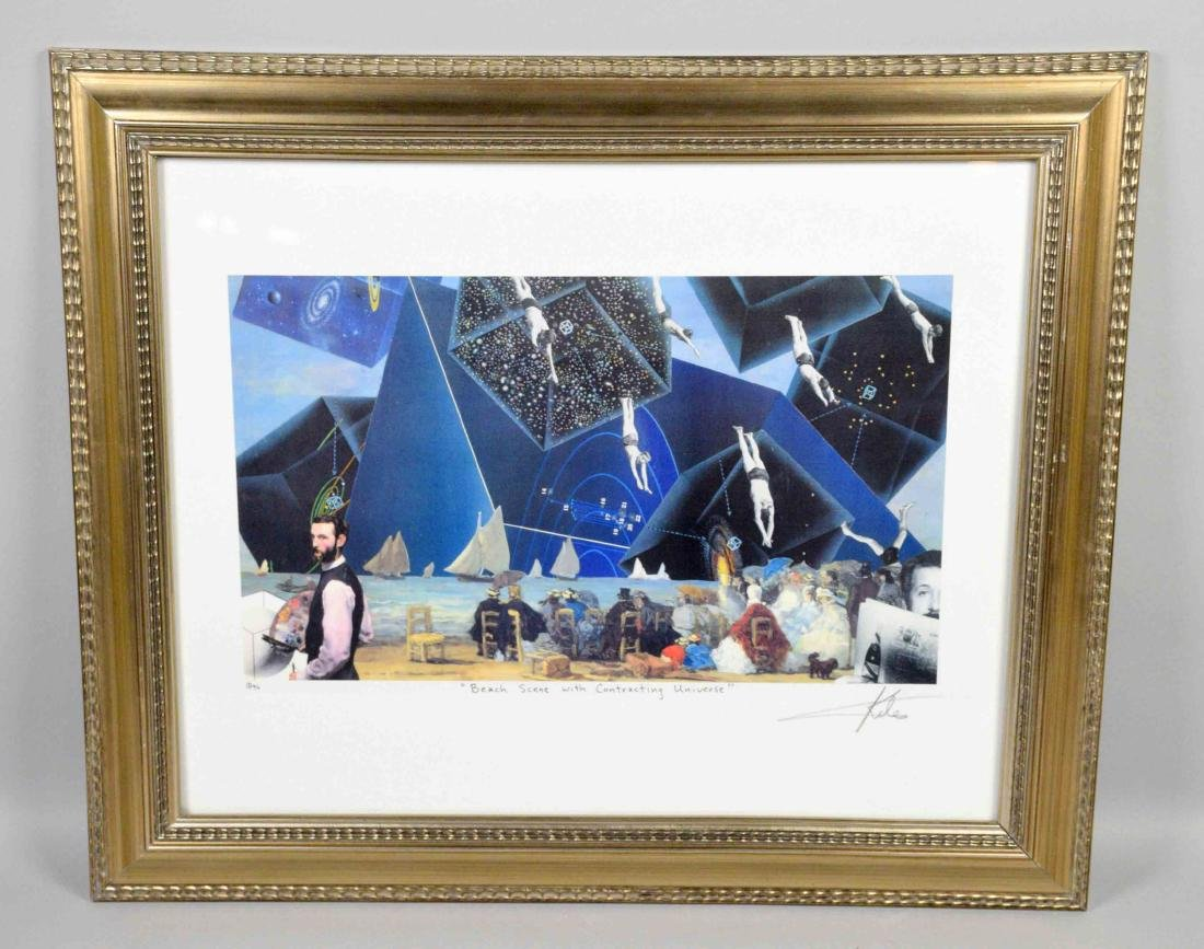 BARRY KITE  framed lithograph ''Beach scene with
