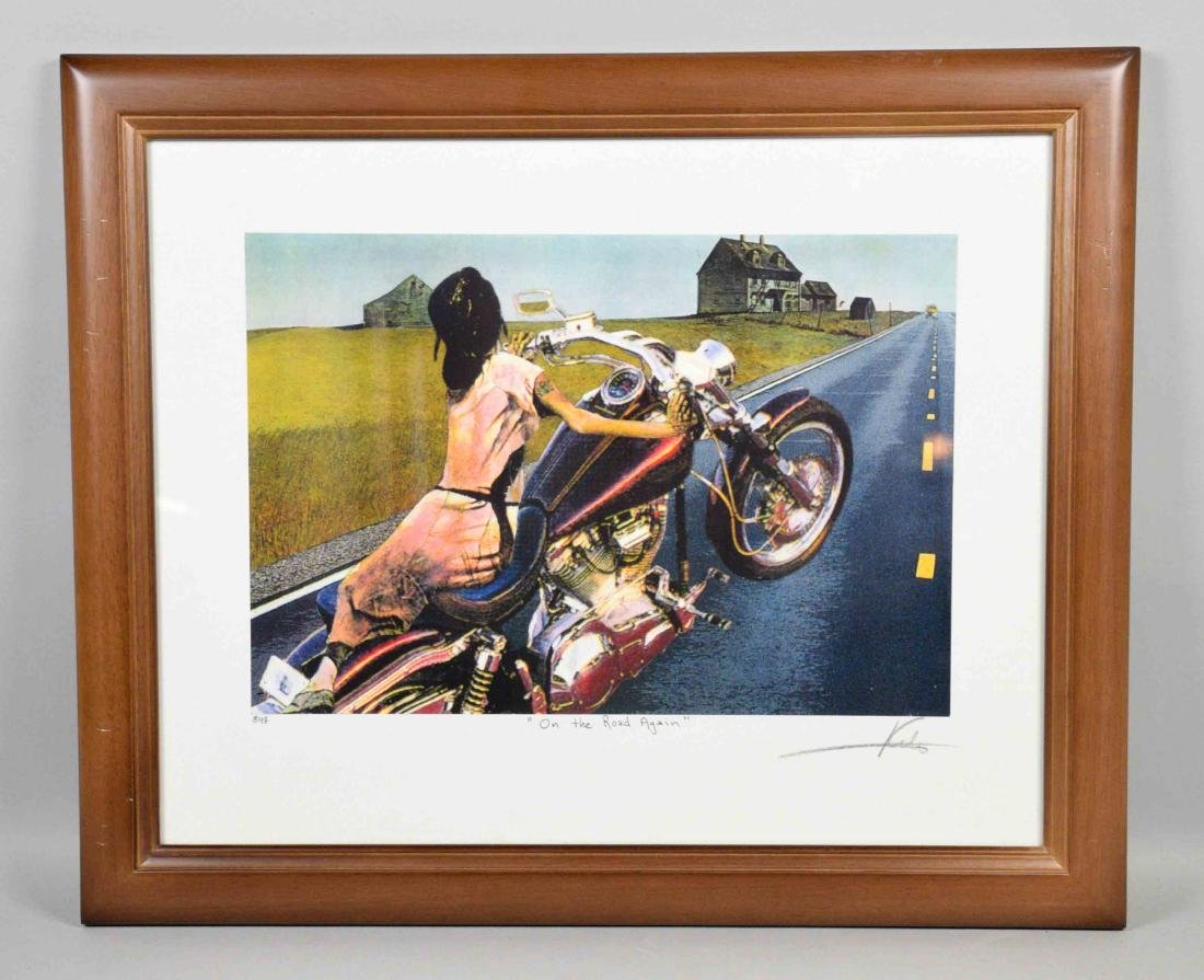 BARRY KITE framed lithograph ''On the road again''