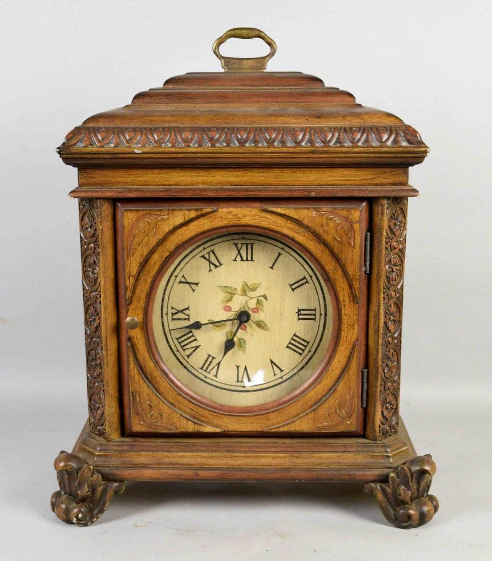 WOODEN MANTEL CLOCK, German movement, Case China. 19''H