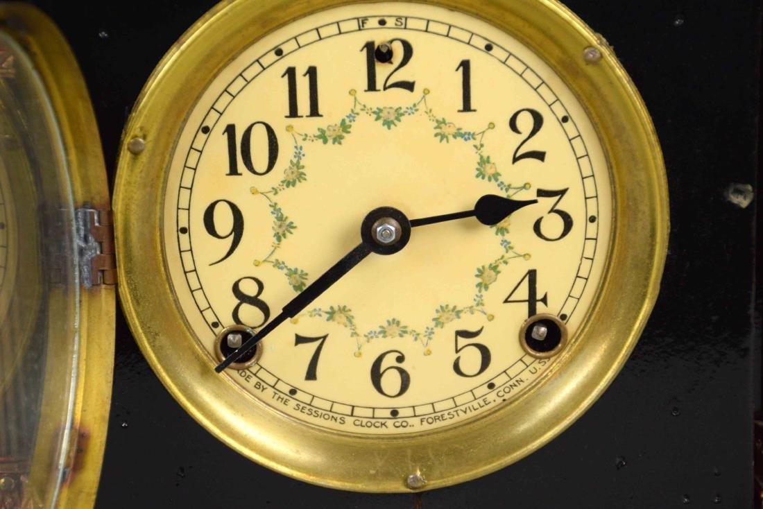 DECORATIVE WOODEN MANTEL CLOCK, Sessions. 12''H x - 4