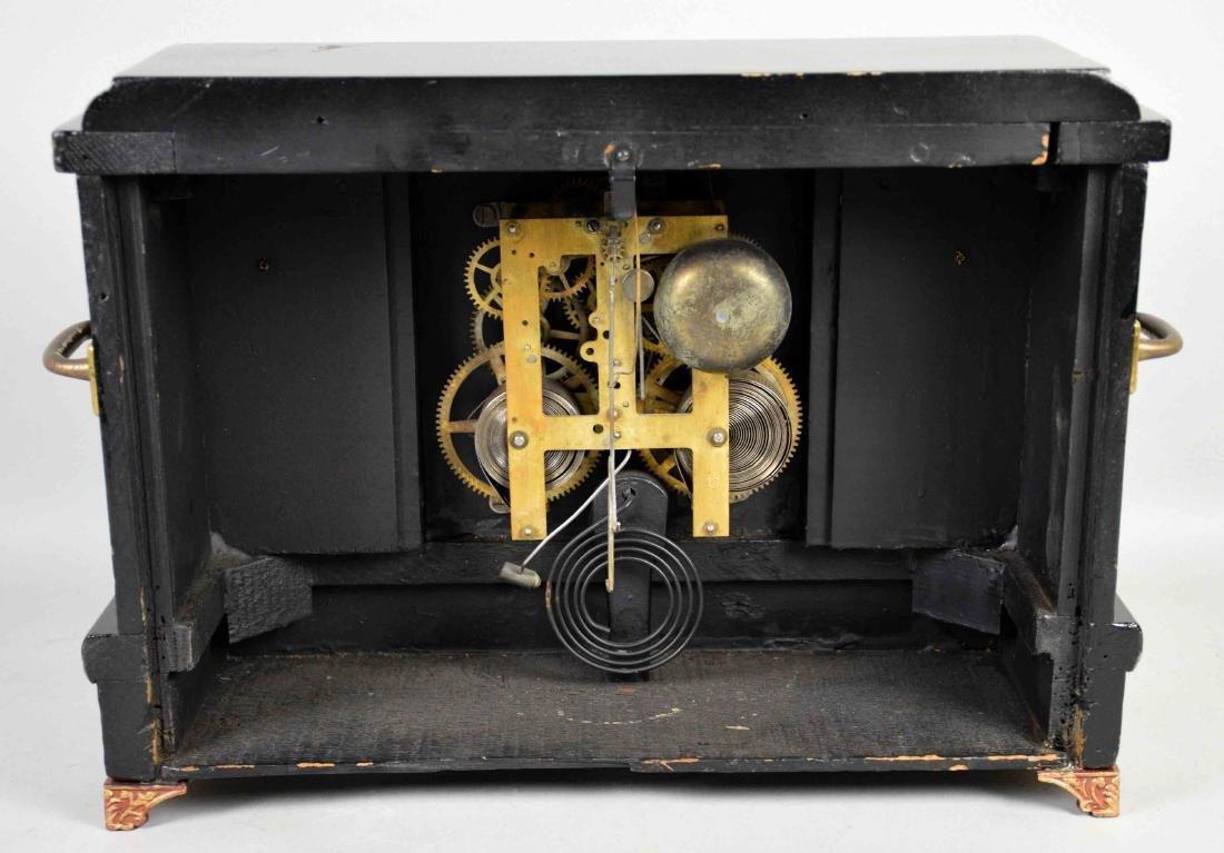 DECORATIVE WOODEN MANTEL CLOCK, Sessions. 12''H x - 6