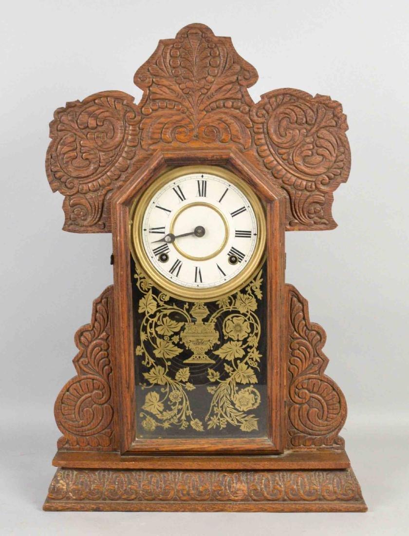 DECORATIVE WOODEN MANTEL CLOCK, Ingrahm Co. 22''H x