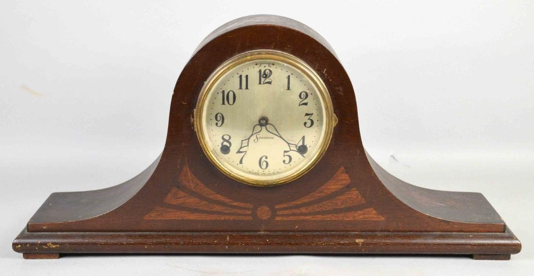 WOODEN MANTEL CLOCK, Sessions. 10''H x 21''W.