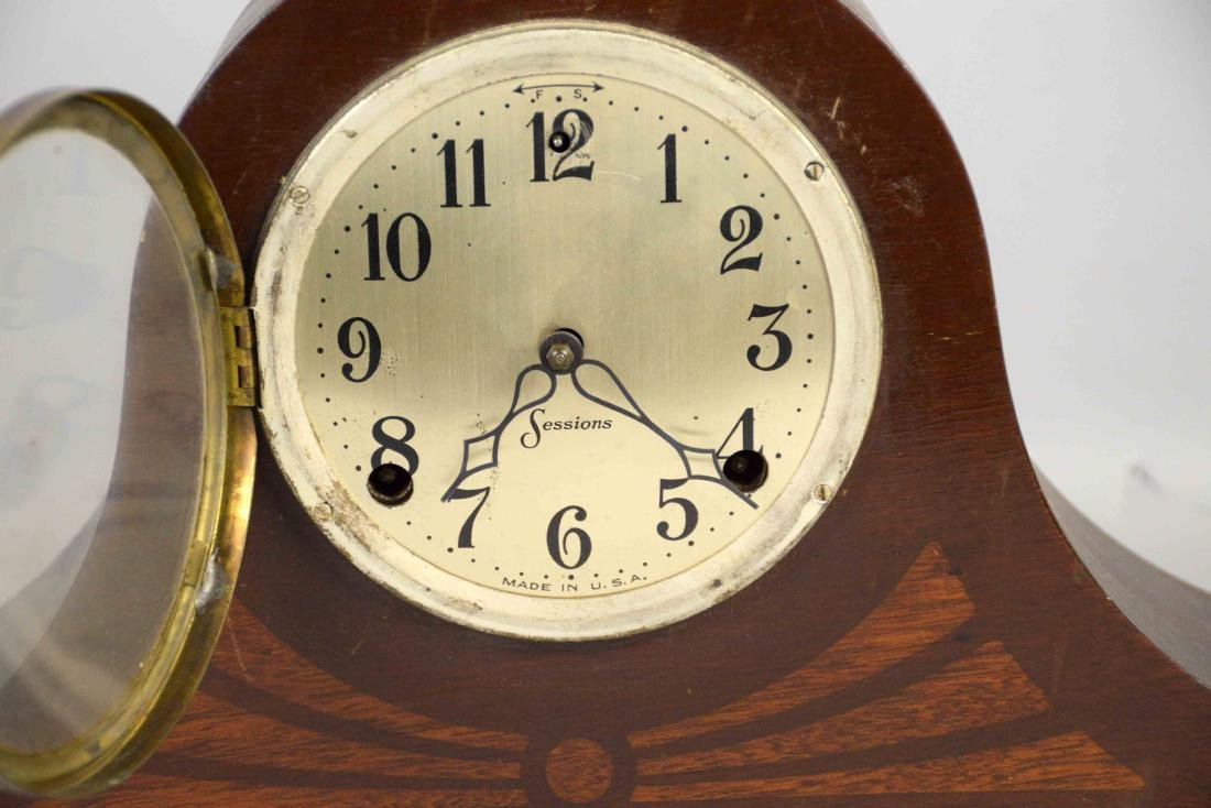 WOODEN MANTEL CLOCK, Sessions. 10''H x 21''W. - 2