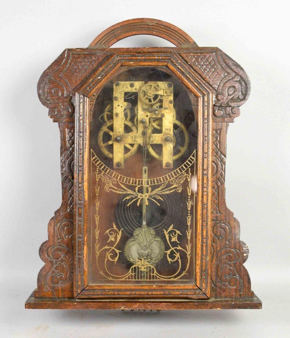 WOODEN WALL CLOCK, No clock face. 17.5''H x 13.5''W.