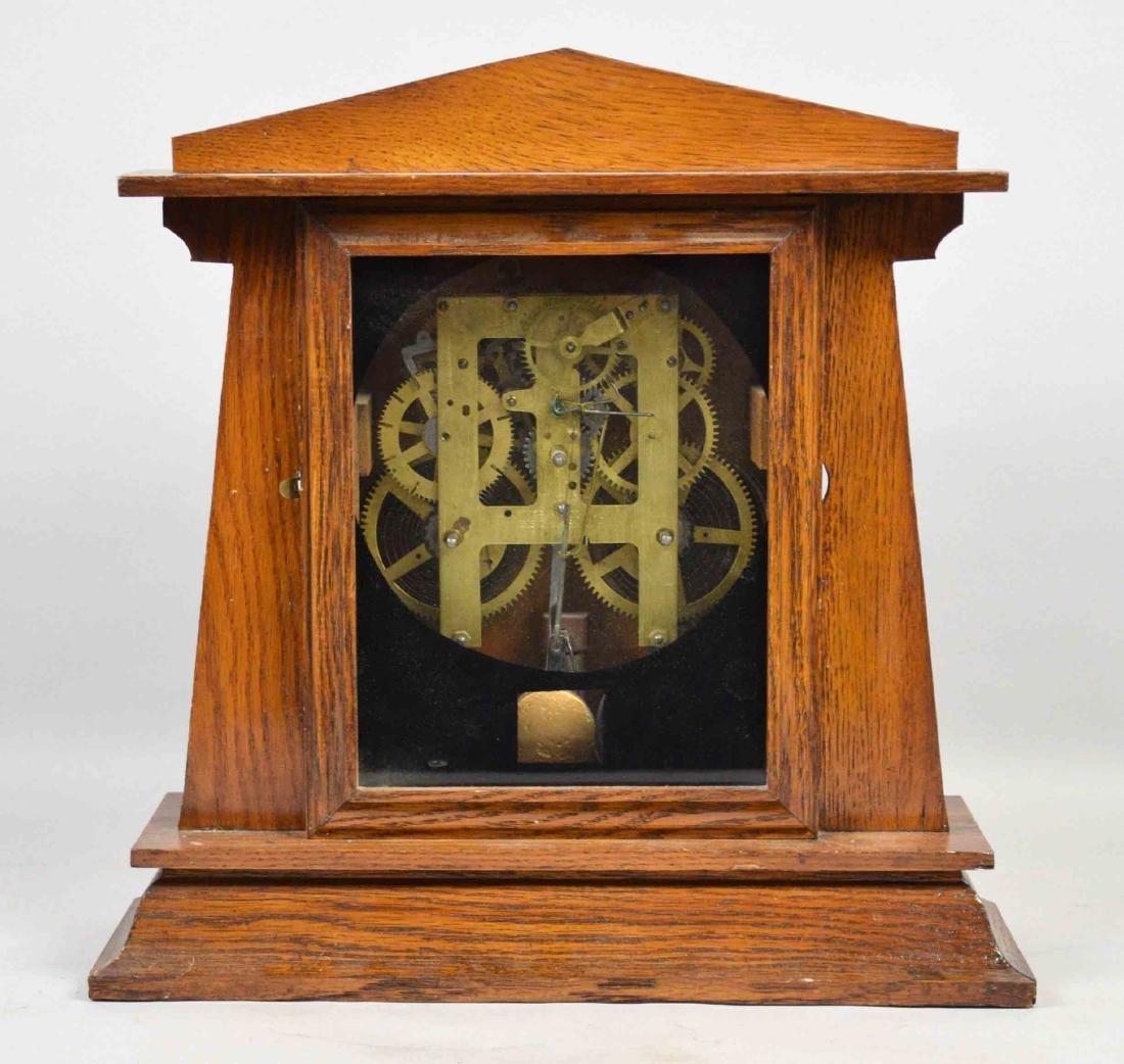 WOODEN MANTEL CLOCK, E. Ingrahm, No clock face. 14''H x