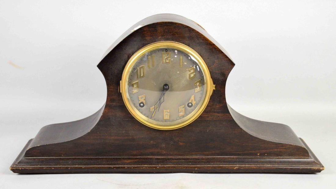 WOODEN MANTEL CLOCK, E. Ingrahm Co. 10.5''H x 21''W.