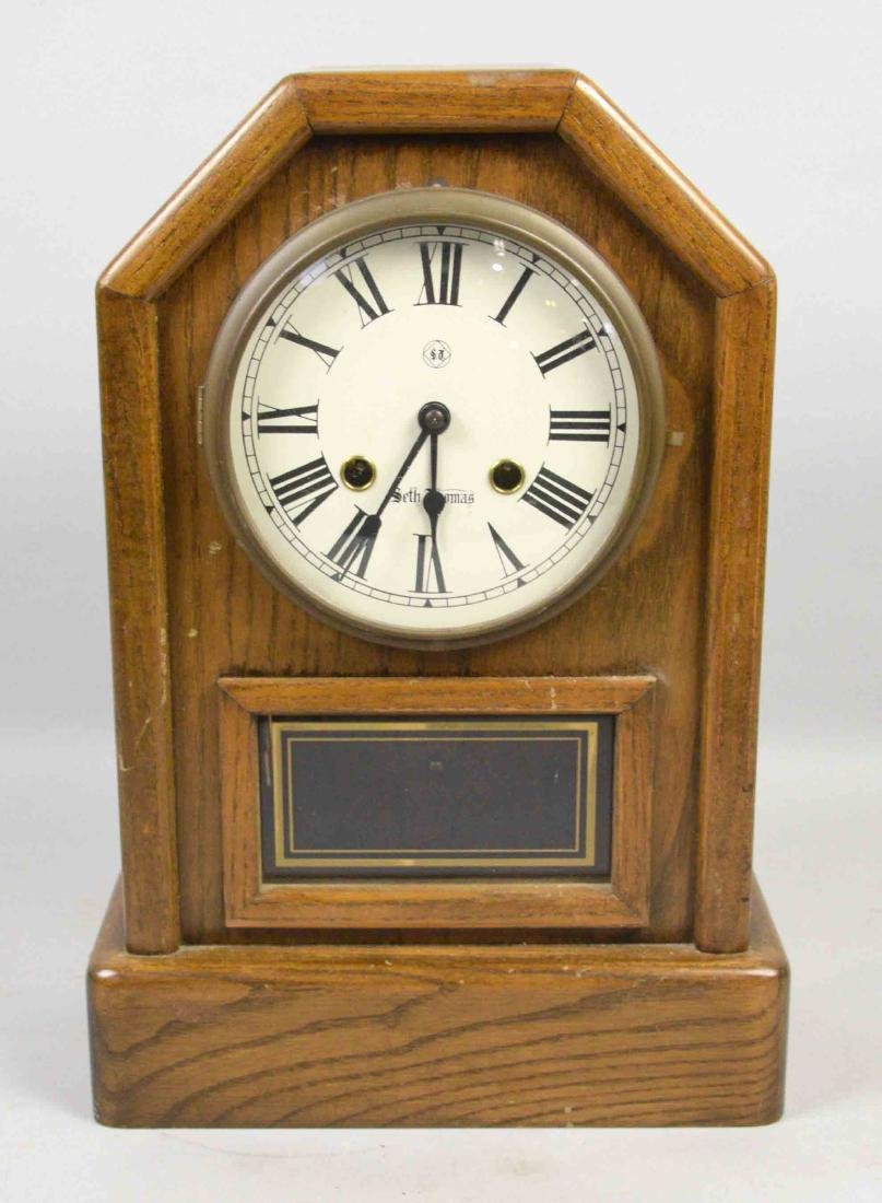 WOODEN MANTEL CLOCK, Seth Thomas. 15''H x 10''W.